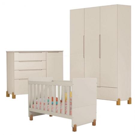 Quarto de Bebê 3 Portas Melody Decor Off White - Móveis Estrela