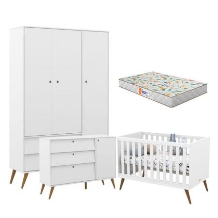 Quarto de Bebê 3 Portas Retro Gold Branco Eco Wood com Colchão Gazin - Matic