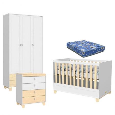 Quarto de Bebê 3 Portas Rope Branco Acetinado Natural com Colchão - Matic