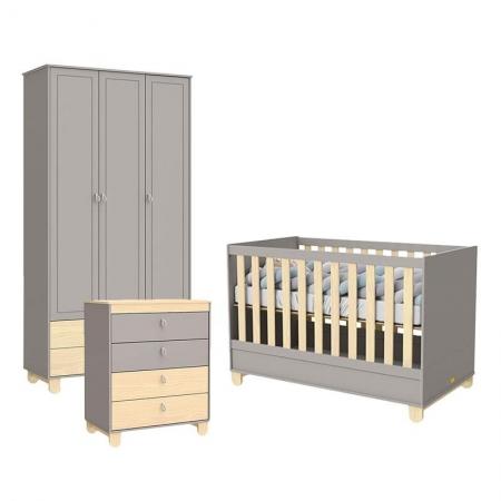 Quarto de Bebê 3 Portas Rope Cinza Natural - Matic