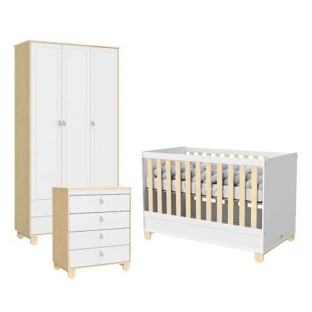 Quarto de Bebê 3 Portas Rope Natural Branco Acetinado - Matic