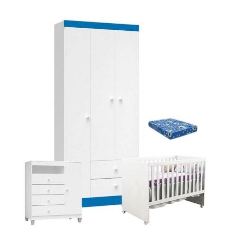 Quarto de Bebê 3 Portas Ternura Baby com Berço Gabi Branco Azul com Colchão - Incorplac