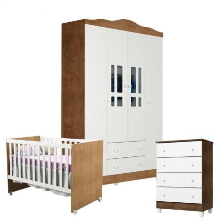 Quarto de Bebê 4 Portas com Gaveteiro Ariel e Berço Gabi Branco Acetinado Amadeirado - Carolina