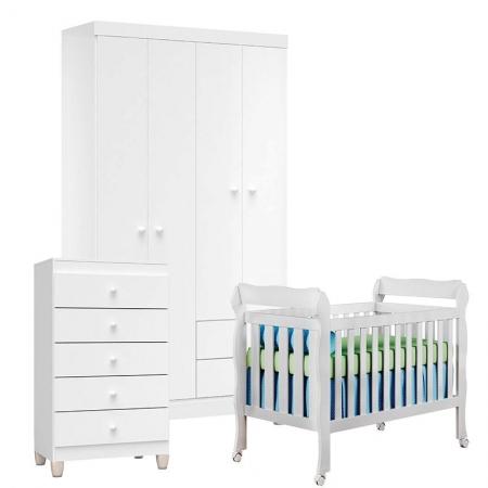 Quarto de Bebê 4 Portas com Gaveteiro Ternura Baby e Berço Lila Branco Brilho - Incorplac