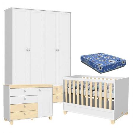 Quarto de Bebê 4 Portas Cômoda com Porta Rope Branco Acetinado Natural com Colchão - Matic