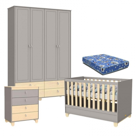 Quarto de Bebê 4 Portas Cômoda com Porta Rope Cinza Natural com Colchão - Matic