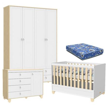 Quarto de Bebê 4 Portas Cômoda com Porta Rope Natural Branco Acetinado com Colchão - Matic