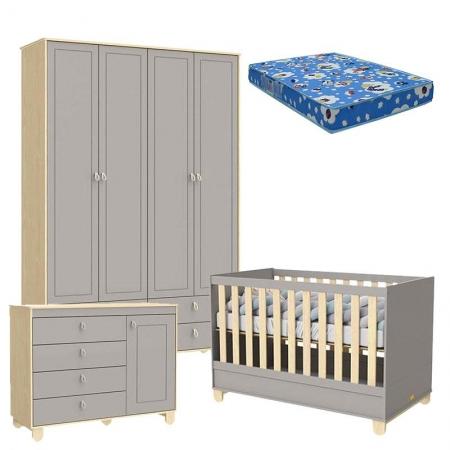 Quarto de Bebê 4 Portas Cômoda com Porta Rope Natural Cinza e Colchão - Matic