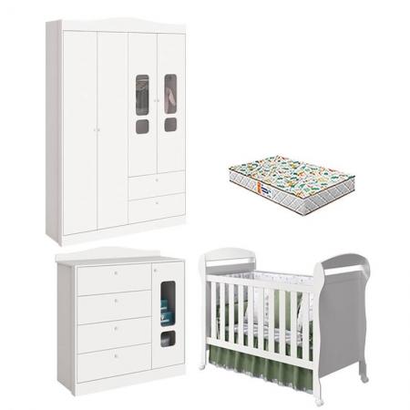 Quarto de Bebê 4 Portas Danny Branco Acetinado com Colchão Gazin - Reller