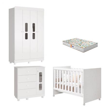 Quarto de Bebê 4 Portas Katatau Flex Branco Brilho com Colchão Gazin - Reller