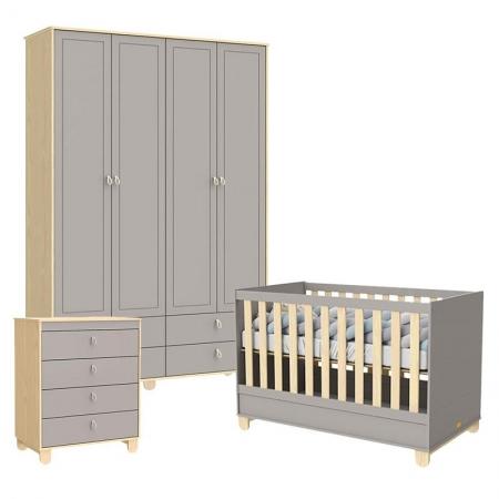Quarto de Bebê 4 Portas Rope Natural Cinza - Matic