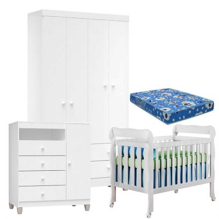 Quarto de Bebê 4 Portas Ternura Baby com Berço Lila Branco Brilho com Colchão - Incorplac