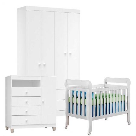 Quarto de Bebê 4 Portas Ternura Baby com Berço Lila Branco Brilho - Incorplac