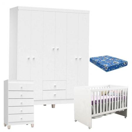 Quarto de Bebê 6 Portas com Gaveteiro Ternura Baby e Berço Gabi Branco Brilho com Colchão - Incorplac