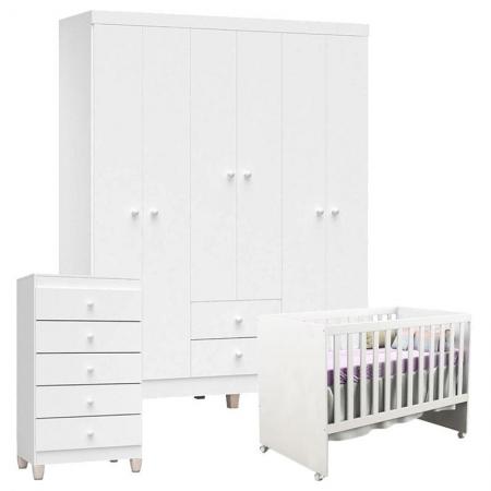 Quarto de Bebê 6 Portas com Gaveteiro Ternura Baby e Berço Gabi Branco Brilho - Incorplac