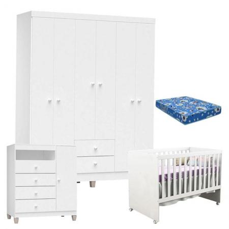 Quarto de Bebê 6 Portas Ternura Baby com Berço Gabi Branco Brilho com Colchão - Incorplac