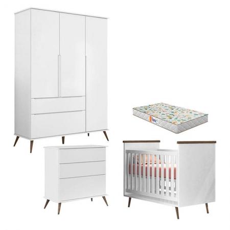 Quarto de Bebê Alice e Cômoda Gaveteiro Branco Acetinado com Colchão Gazin - Phoenix Baby
