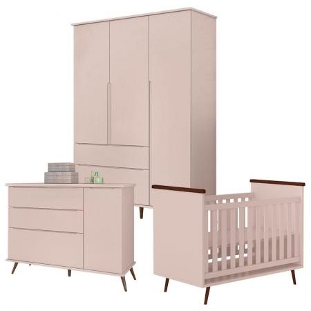 Quarto de Bebê Alice Rosa Acetinado - Phoenix Baby
