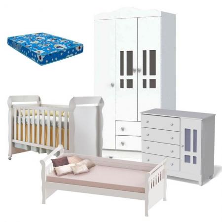 Quarto de Bebê Ariel 3 Portas Berço Mirelle com Colchão e Cama Babá Julia Branco Brilho - Carolina