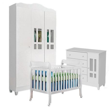 Quarto de Bebê Ariel 3 Portas com Berço Lila Branco Brilho - Carolina Móveis