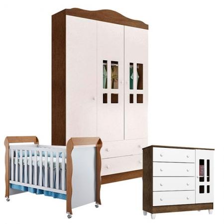 Quarto de Bebê Ariel 3 Portas com Berço Mirelle Branco Acetinado Amadeirado - Carolina