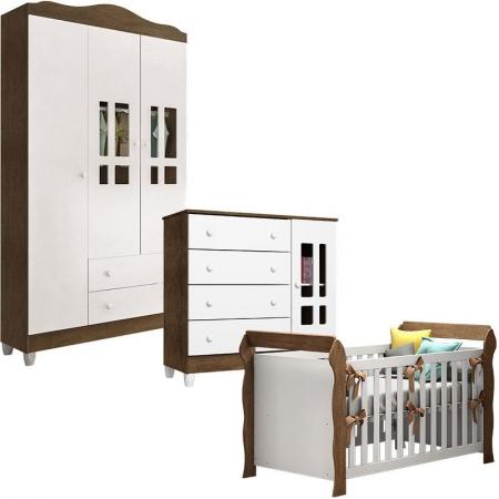 Quarto de Bebê Ariel 3 Portas e Berço Lara Branco Acetinado Amadeirado - Carolina