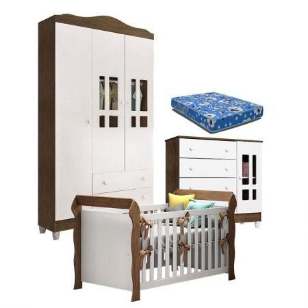 Quarto de Bebê Ariel 3P Berço Lara Branco Acetinado Amadeirado com Colchão - Carolina