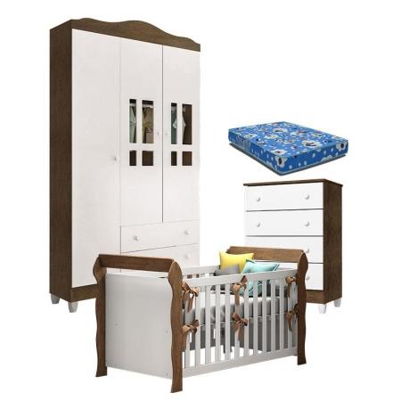 Quarto de Bebê Ariel 3P Gaveteiro e Berço Lara Branco Acetinado Amadeirado com Colchão - Carolina
