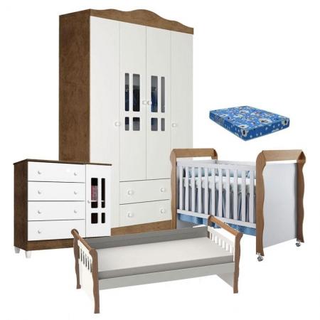 Quarto de Bebê Ariel 4 Portas Berço Mirelle com Colchão e Cama Babá Julia Branco Acetinado Amadeirado - Carolina