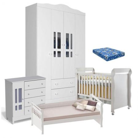 Quarto de Bebê Ariel 4 Portas Berço Mirelle com Colchão e Cama Babá Julia Branco Brilho - Carolina