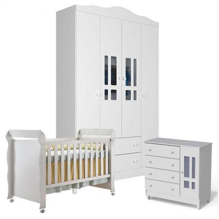 Quarto de Bebê Ariel 4 Portas com Berço Americano Mirelle Branco Brilho - Carolina