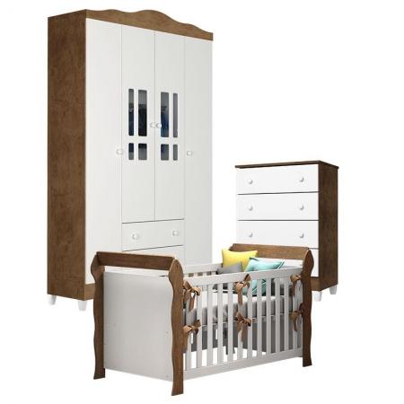 Quarto de Bebê Ariel 4 Portas com Gaveteiro e Berço Lara Branco Acetinado Amadeirado - Carolina