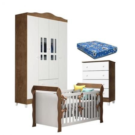 Quarto de Bebê Ariel 4P Gaveteiro e Berço Lara Branco Acetinado Amadeirado com Colchão - Carolina