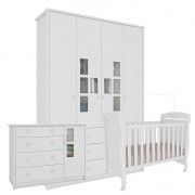 Quarto de Bebê Biel 4 Portas Branco Brilho - Peroba