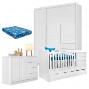 Quarto de Bebê Blenda com Berço Multifuncional Cleo Branco Acetinado e Colchão - Phoenix