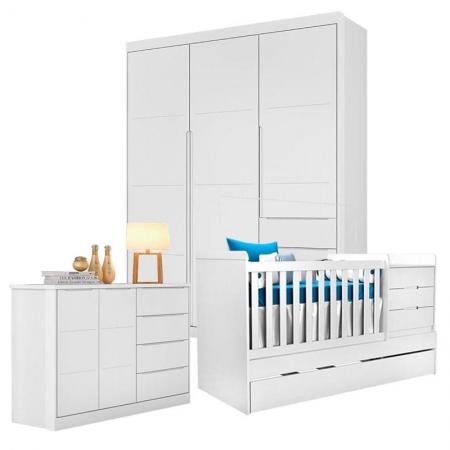 Quarto de Bebê Blenda com Berço Multifuncional Cleo Branco Acetinado - Phoenix