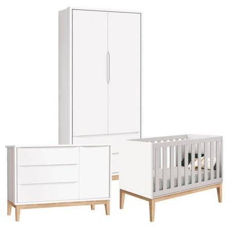 Quarto de Bebê Classic 2 Portas Cômoda com Porta Branco com Pés Madeira Natural - Reller