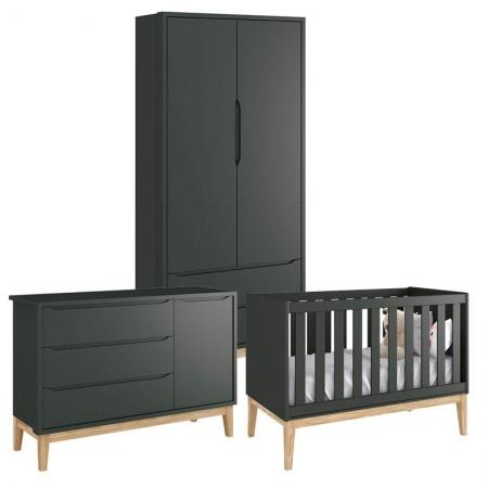 Quarto de Bebê Classic 2 Portas Cômoda com Porta Grafite com Pés Madeira Natural - Reller