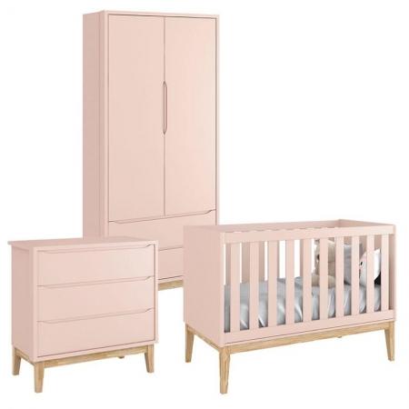 Quarto de Bebê Classic 2 Portas Rosa com Pés Madeira Natural - Reller