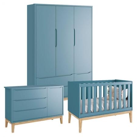 Quarto de Bebê Classic 3 Portas Azul com Pés Madeira Natural - Reller
