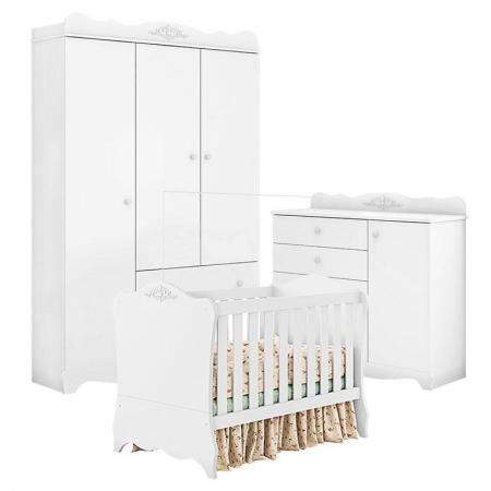 Quarto de Bebê Classic 3 Portas Branco Acetinado - Móveis Estrela