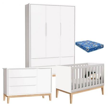 Quarto de Bebê Classic 3 Portas com Colchão Branco Pés Madeira Natural - Reller