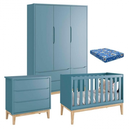 Quarto de Bebê Classic 3 Portas com Colchão e Cômoda Gaveteiro Azul Pés Madeira Natural - Reller