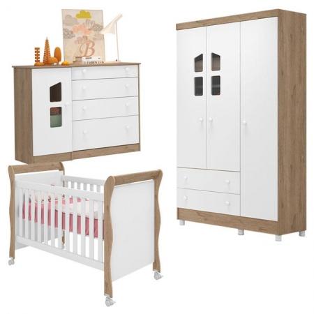 Quarto de Bebê com Berço 251 e Cômoda 2644 Amore Carvalho Rústico TOQ/Branco - Qmovi