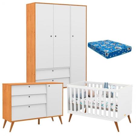 Quarto de Bebê com Berço Branco Retro Gold 3 Portas Freijó Branco Eco Wood e Colchão - Matic