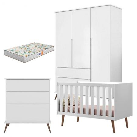 Quarto de Bebê com Cômoda Gaveteiro Alice Berço Americano Retrô Ana Branco Acetinado com Colchão Gazin - Phoenix Baby