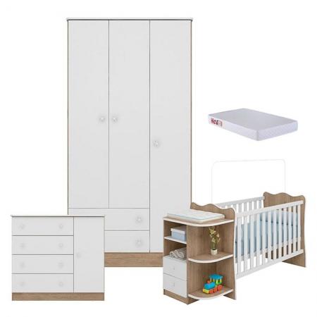Quarto de Bebê com Guarda Roupa 2617 Doce Sonho Carvalho Rústico TOQ Branco e Colchão - Qmovi