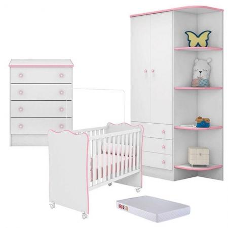 Quarto de Bebê Doce Sonho 105 2 Portas com Cantoneira Cômoda 103 e Berço Nacional 102 Branco Rosa com Colchão - Qmovi