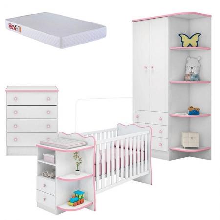 Quarto de Bebê Doce Sonho 105 com Cômoda 103 e Berço Cantoneira 101 Branco Rosa Brilho e Colchão  Prorelax - Qmovi