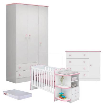 Quarto de Bebê Doce Sonho 2617 Cômoda 2561 Berço Com Cantoneira 101 Branco Rosa e Colchão - Qmovi